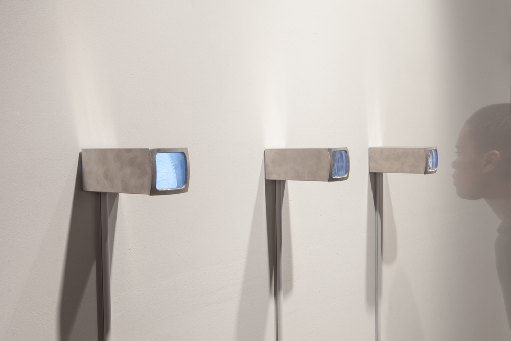 3 aluminum sculptures with viewer, 2014