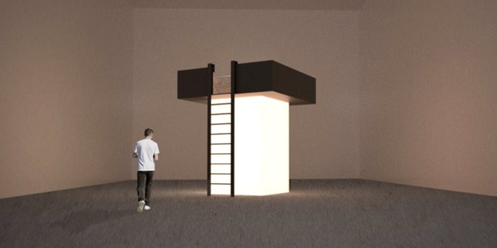 F.S. (reflecting box 1), (installation rendering 2)