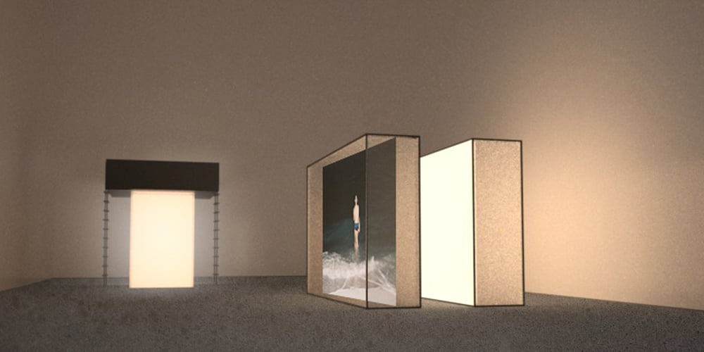 F.S. (reflection box 1) and Reverse Venus (installation rendering)