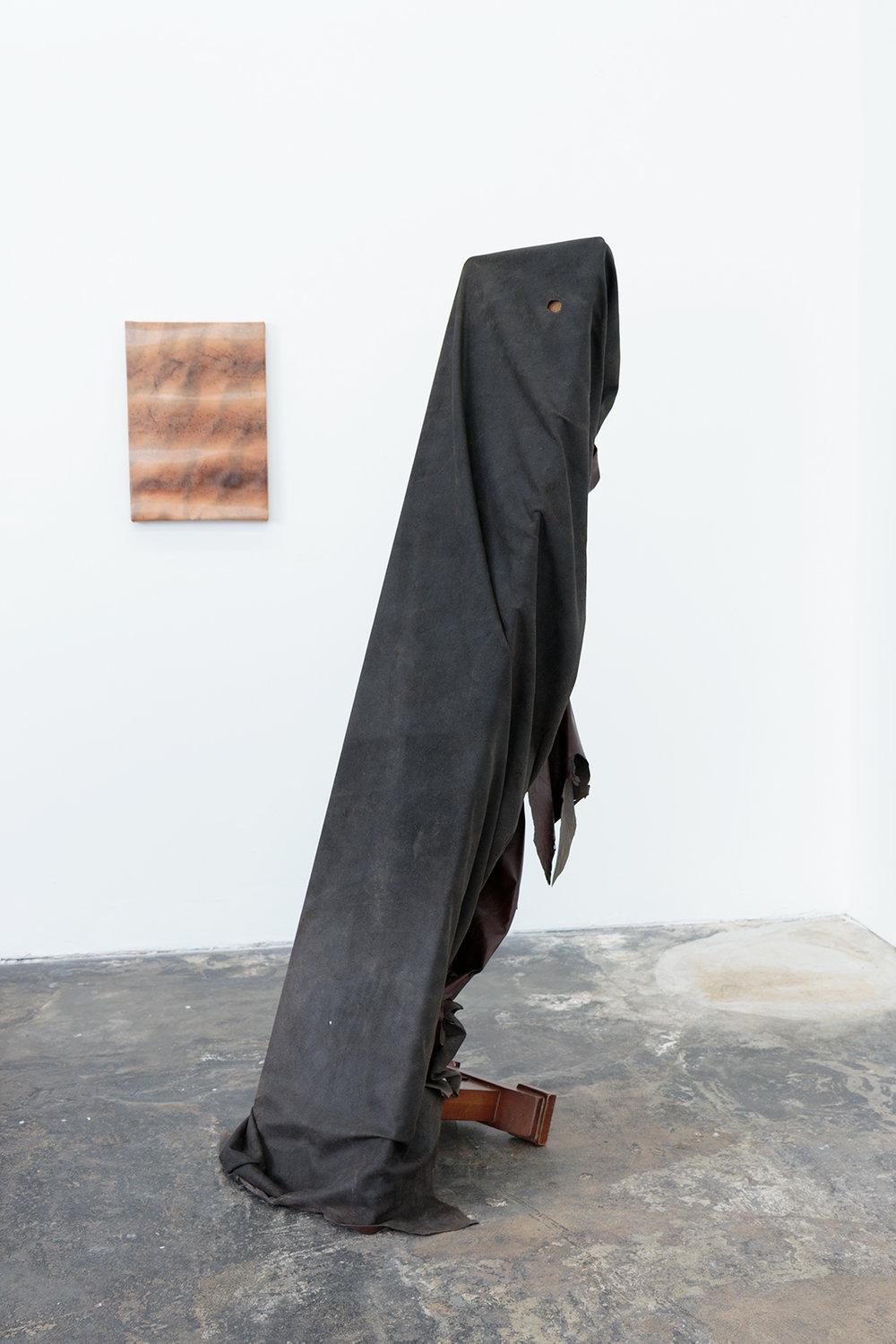 Lutheran Reaper (Chill out Joseph Beuys), 2018     Furniture Leather, Church Pew