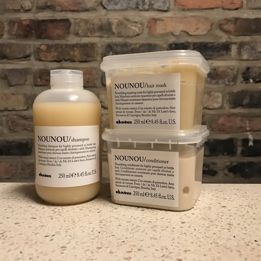 Davines NouNou: Shampoo ($26), Conditioner ($30), and Hair Mask ($34).