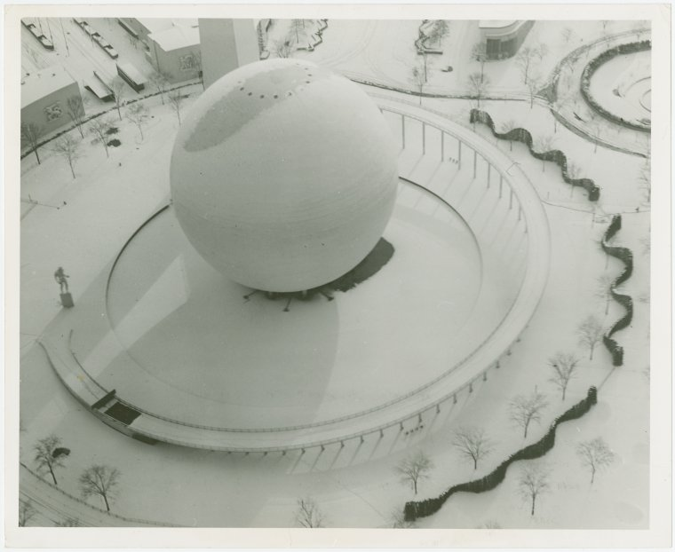 Fairgrounds, Snow, Perisphere. NY World's Fair Collection