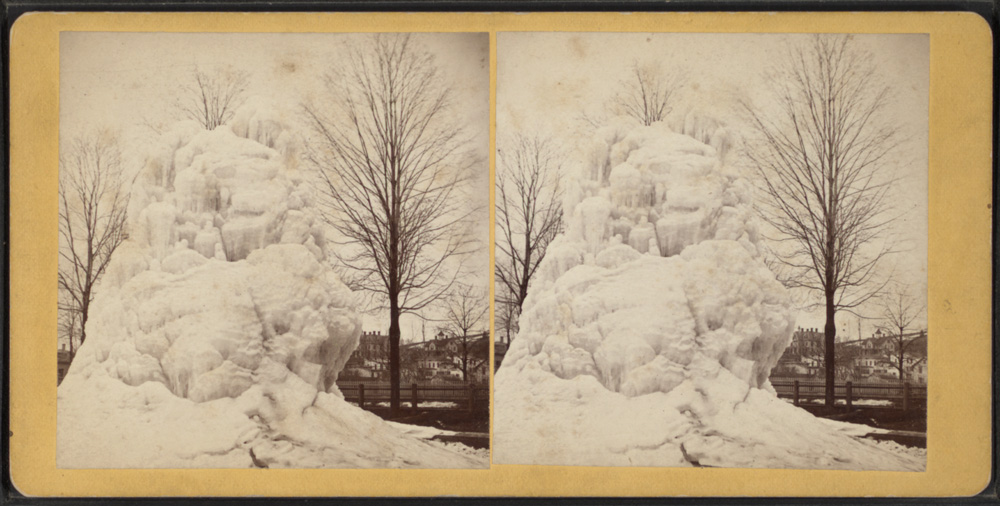 A frozen fountain in the square. Photographer: William Eldrige