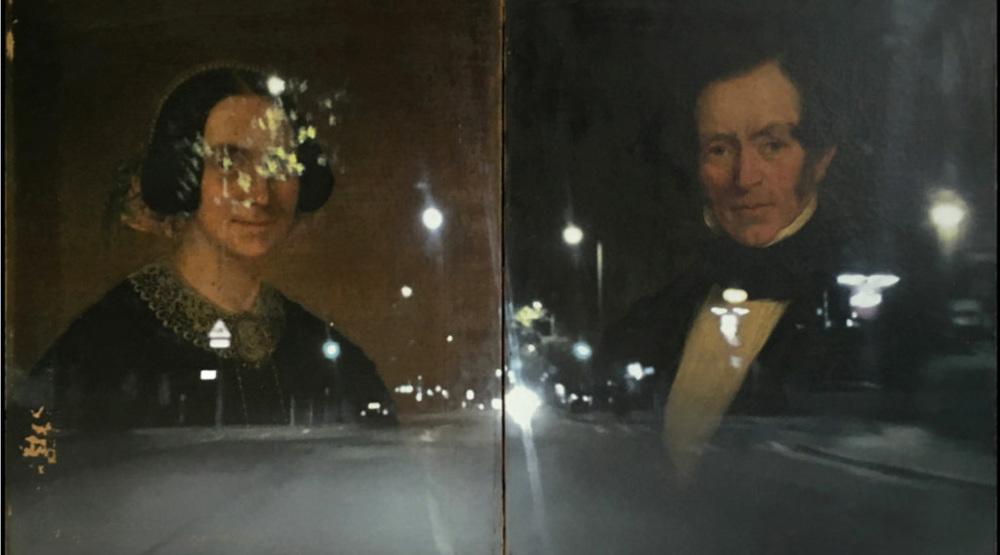 Reflection on Mr and Mrs Thomas Walker, Camden Town. © Paul Stephenson. Originally painted by William Allsworth, 1855 (Ink on Oil on Canvas, 2016)