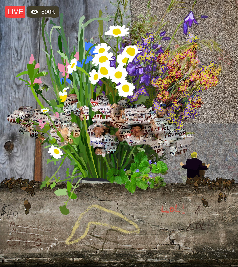After Flowers for Algernon 13 (wall [with buffalo jump] ) © Gregory Eddi Jones