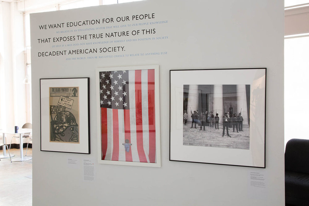 Left to right: works by Emory Douglas, Ouida Bryson, and an historical image by an unknown photographer. Installation photograph © Lilly Everett