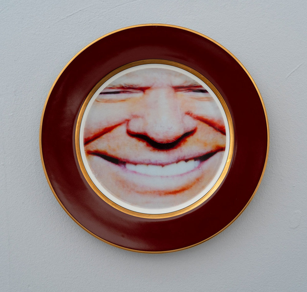 Donald Trump, 2018; ceramic plate; 10.25 inch diameter.