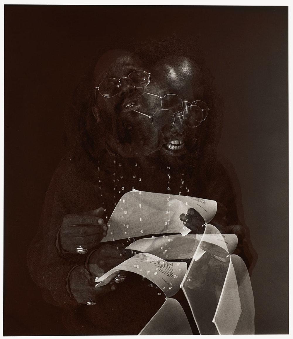 Lamont Steptoe, Poet, 1987. by Thomas Carabasi Gelatin silver print, toned Courtesy of Philadelphia Museum of Art, Purchased with the Alice Newton Osborn Fund, 1989
