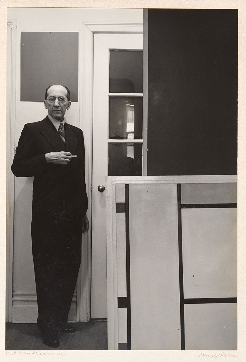 Piet Mondrian by Arnold Newman, 1942. Gelatin silver print Courtesy of Philadelphia Museum of Art, Gift of R. Sturgis and Marion B. F. Ingersoll.