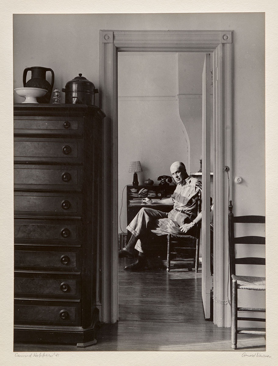 Edward Hopper by Arnold Newman, 1941. Gelatin silver print Courtesy of Philadelphia Museum of Art. Gift of R. Sturgis and Marion B. F. Ingersoll,