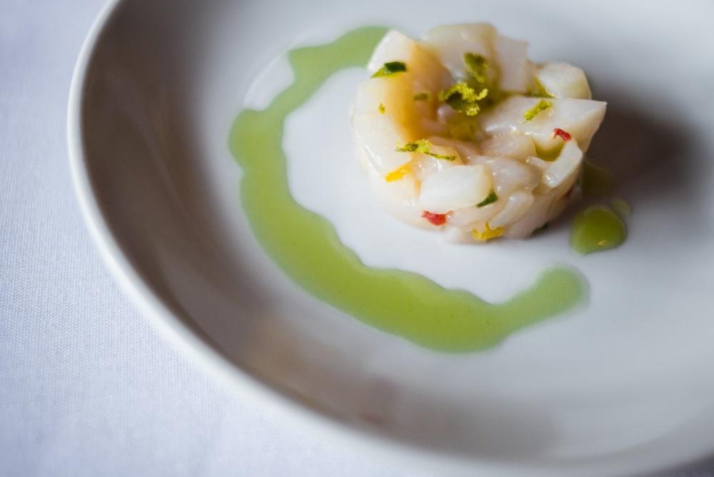 SCALLOP CRUDO,   peppers, lime, olio verde   with   ALBARIÑO, Bonny Doon 2013 |  photo by Shawna Stanley