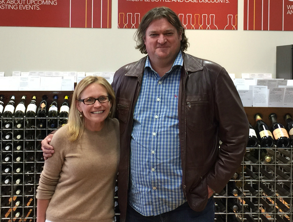 City Wine Merchant's Executive Vice-President, Traci Lee, with Bruwer Raats