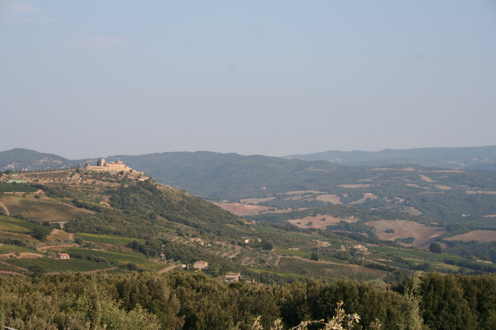 Montalcino, a hilltop town, has vineyards that range from about 150m to 500m.