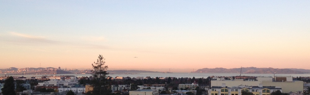 VIEW OF THE BAY FROM THE BERKELEY CITY CLUB, WITH THE EAST BAY CROSSING OF THE BAY BRIDGE (L), THE GOLDEN GATE BRIDGE AND MARIN HEADLANDS (C & R) AND SAN FRANCISCO IN THE DISTANCE | Detail of photograph by Rachel Hope Crossman