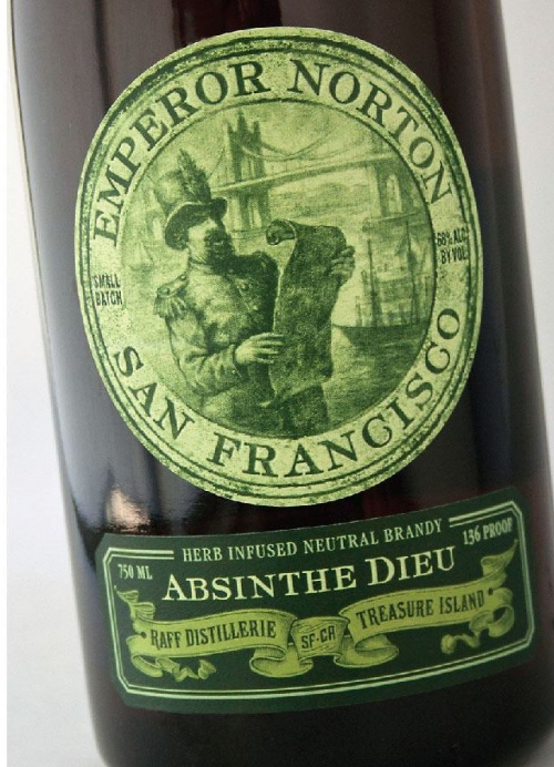 Emperor Norton Absinthe Dieu, made by Raff Distillerie on Treasure Island.