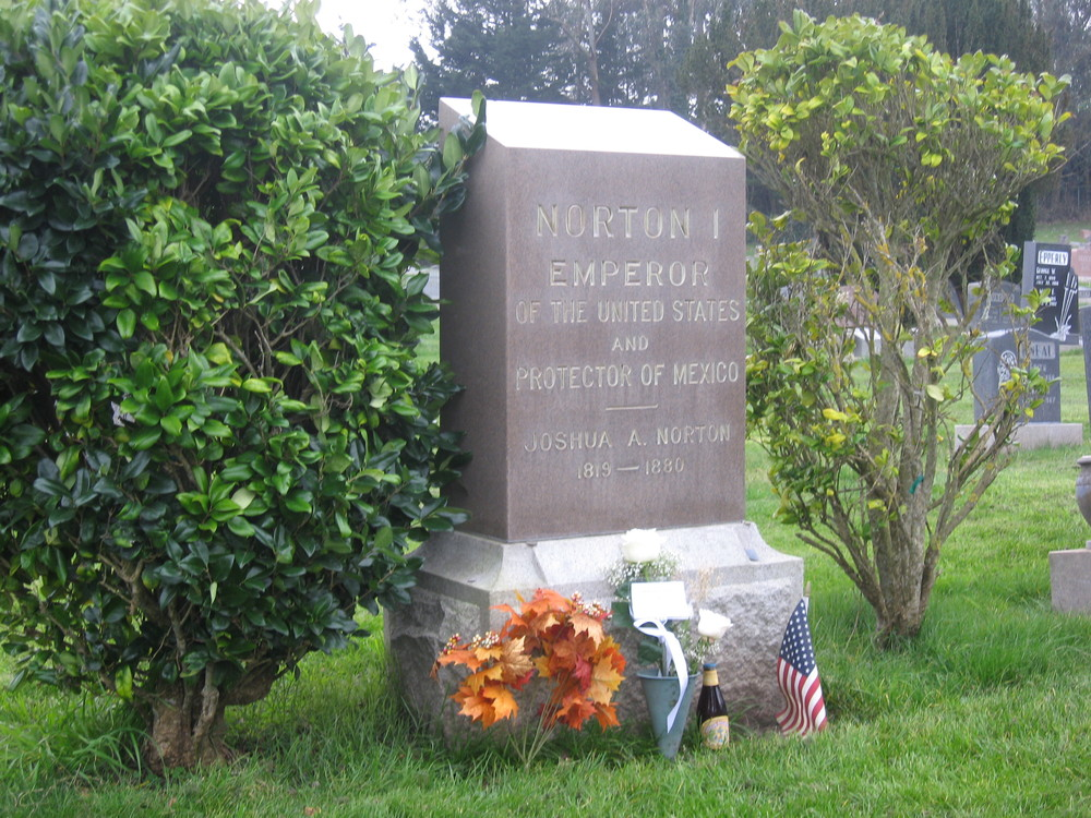 A view of the Emperor's gravestone on Emperor Norton Day, 8 January 2015. The Emperor's Bridge Campaign left the taller of the two roses. The bottle of Anchor Steam to the right still was cold when we got there. When we stopped in to raise a glass (Jameson's) at Molloy's, a half-hour later, we learned that we'd just missed the fellow who bought the bottle there.
