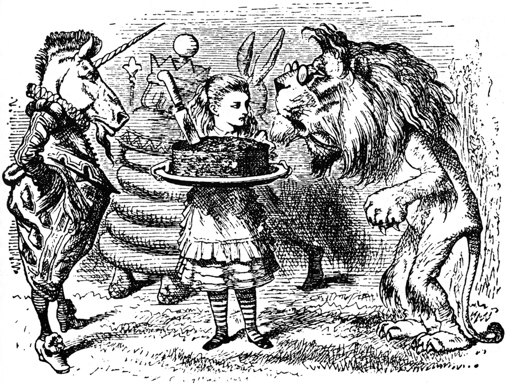 John Tenniel's (1820-1914) illustration for the story of the Lion and the Unicorn, from Lewis Carroll's (1832-1898) novel,  Through the Looking-Glass, and What Alice Found There  (1871).