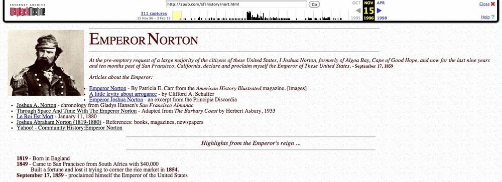 Screenshot from 15 November 1996 cache of Emperor Norton page at   Zpub.com.   Source: Internet Archive.