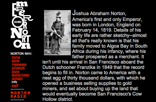 Screenshot from 10 October 1999 cache of Emperor Norton bio page on the Web site of Emperor Norton Records.  Source: Internet Archive.