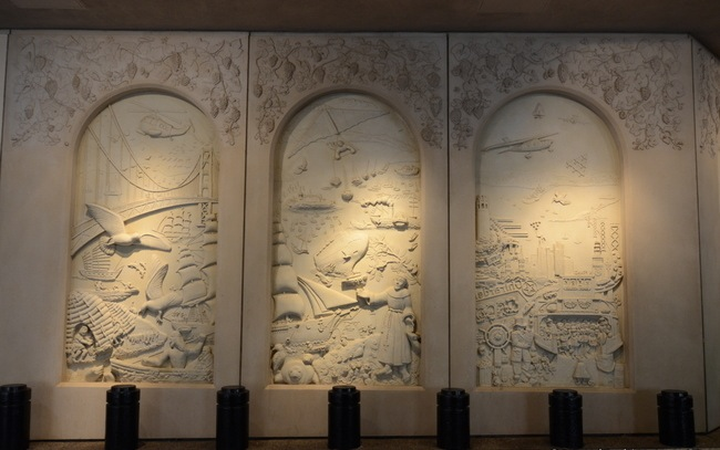 Detail of photograph of 7-paneled sculpture, San Francisco Yesterday and Today (1984), by Ruth Asawa (1926 – 2013), at the Parc 55 Hilton hotel in San Francisco. Original photo © ArtandArchitecture-SF.