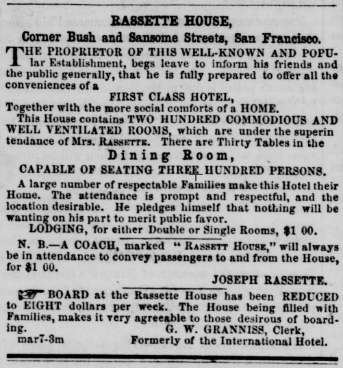 Advertisement for the Rassette House in The Wide West, v4 n12, 31 May 1857.  Source: California Digital Newspaper Collection.