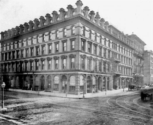 The Cosmopolitan Hotel, at the southwest corner of Sansome and Bush Streets, San Francisco, in 1866. The hotel opened in 1864 on the site of the original Rassette House, which burned down in 1853, and the second Rassette House (later the Metropolitan Hotel), which closed and was demolished in 1863.  Source: James Smith,  San Francisco's Lost Landmarks  (Craven Street Books, 2005).