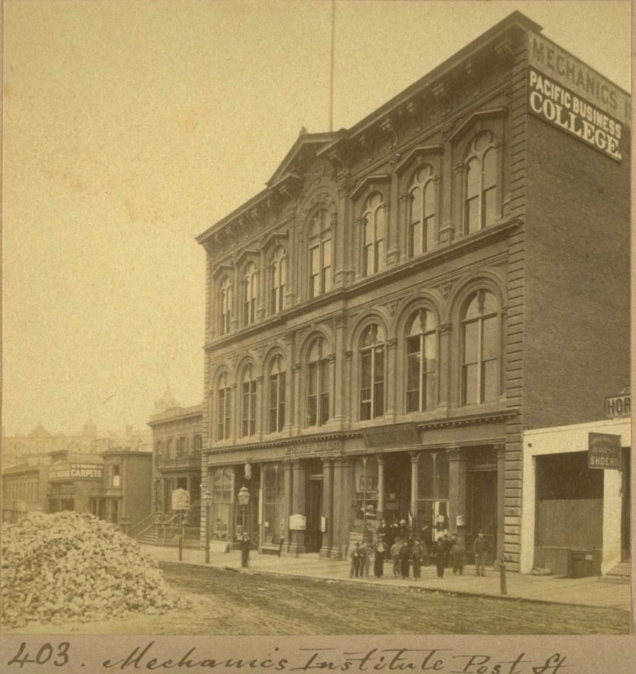 "Photograph, by Eadweard Muybridge (1830-1904), of the Mechanics' Institute's building at 31 Post Street (1866-1906). Emperor Norton  —  who frequented the Institute ""daily,"" according to the  Morning Call  newspaper  —  wrote many of his Proclamations in this building. Source:  ""Lone Mountain College Collection of Stereographs by Eadweard Muybridge, 1867-1880,""  Bancroft Library, University of California, Berkeley."