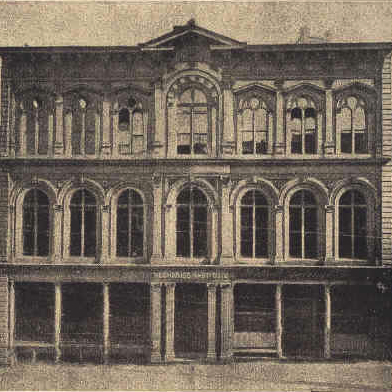 Photograph of the Mechanics' Institute's 1866 building at 31 Post Street, San Francisco. The building was destroyed in the 1906 earthquake and fire.  Source:  The Mechanics Institute .