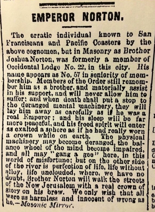 Letter to the Editor of the San Francisco Chronicle, from the Masonic Mirror monthly. Published 20 April 1872.