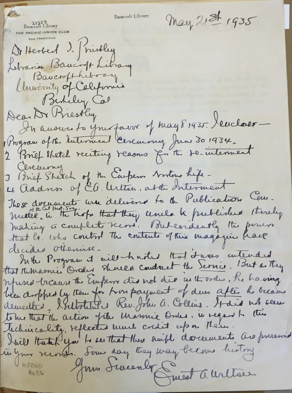 Letter from Ernest Wiltsee, president of the Emperor Norton Memorial Association, to Herbert Priestley, Librarian of the Bancroft Library at the University of California, Berkeley, 21 May 1935. Included in the Ernest A. Wiltsee Papers at the Bancroft Library. Photo by Joseph Amster. Published by permission of the Bancroft Library.