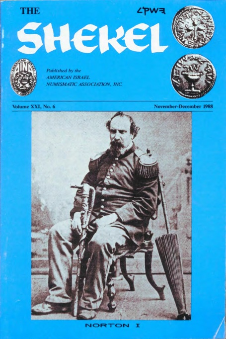 Cover of the November-December 1988 edition of  The Shekel , the bi-monthly journal of the American Israel Numismatic Association.  Source:  American IsraeI Numismatic Association .
