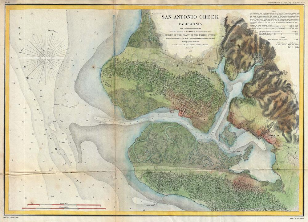 1857 United States Coast Survey Map of San Antonio Creek. Source:  Wikimedia Commons .