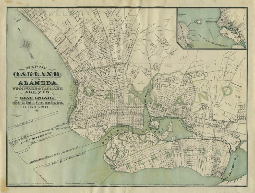 Map of Oakland and Alameda, Woodward and Taggart, Agents for the Purchase, Sale, Appraisal and Care of Real Estate, 1877. Collection of the Oakland Public Library History Room. Source:  Calisphere  ( large view ).