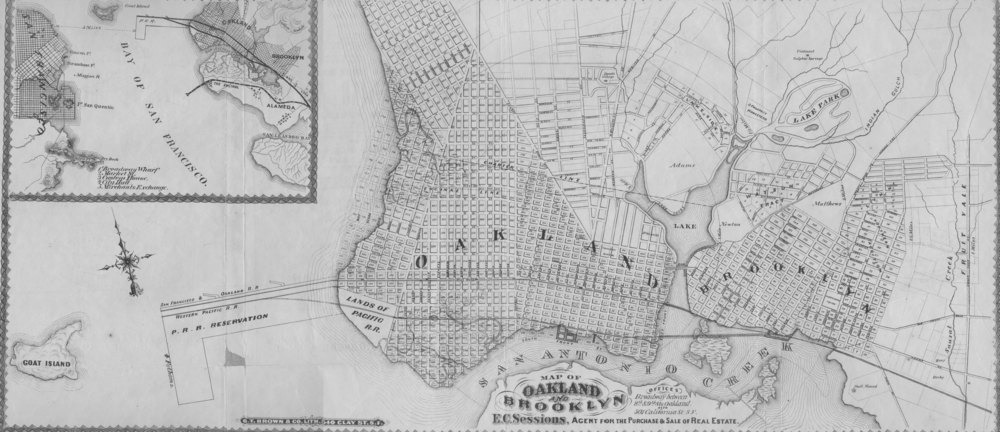 Map of Oakland and Brooklyn, E.C. Sessions, Agent for the Purchase and Sale of Real Estate, c. 1869. Collection of the Bancroft Library at the University of California, Berkeley.  Source: Oakland Wiki via Calisphere.