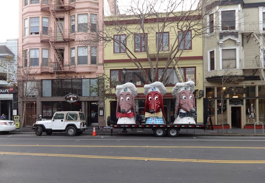 "Courtesy of John Law, these Doggie Diner heads (in the process of being restored) stand sentinel on the afternoon of 3 February 2015 in front of the Eric Quezada Center for Culture & Politics at 518 Valencia Street in San Francisco. The occasion was The Emperor's 197th Birthday, the Campaign's ""party and presentation of recent findings"" that evening about Emperor Norton's birth date. Photo: Kristian Akseth."