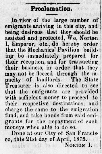 Proclamation of Emperor Norton in the Pacific Appeal newspaper, 24 April 1875. Source:  California Digital Newspaper Collection .