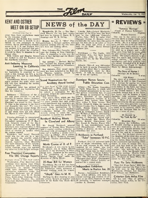 """Review"" of The Story of Norton I in The Film Daily, Wednesday 13 January 1937 (right column). Source: Internet Archive."