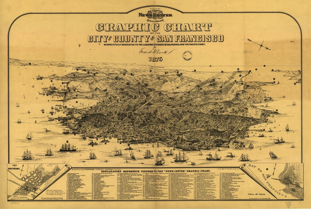 Graphic Chart of the City and County of San Francisco, revised and drawn by L.R. Townsend, E. Wyneken and J. Mendenhall, April 1875. Published by the San Francisco News Letter (Frederick Marriott, publisher). Source: Library of Congress