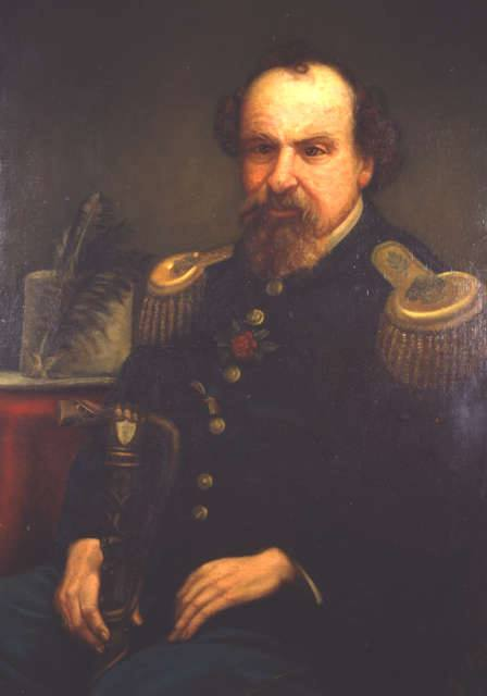 Painting, 1879, by Addie Ballou (1838-1916).  This is the only portrait for which Emperor Norton is known to have sat personally. Source: Society of California Pioneers