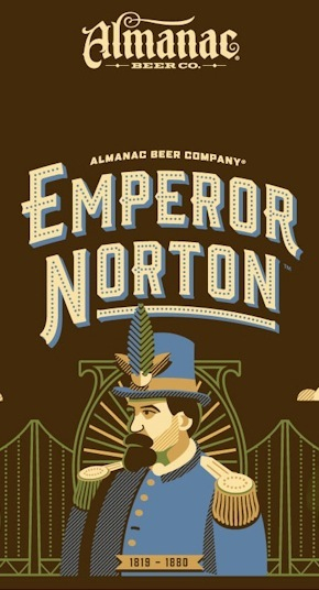 Illustration, 2015, by Dan Kuhlken  for DKNG Studios. Bottle-printed label of Emperor Norton Ale by Almanac Beer Co.  ©  2015 Almanac Beer Co. Source:  DKNG Studios