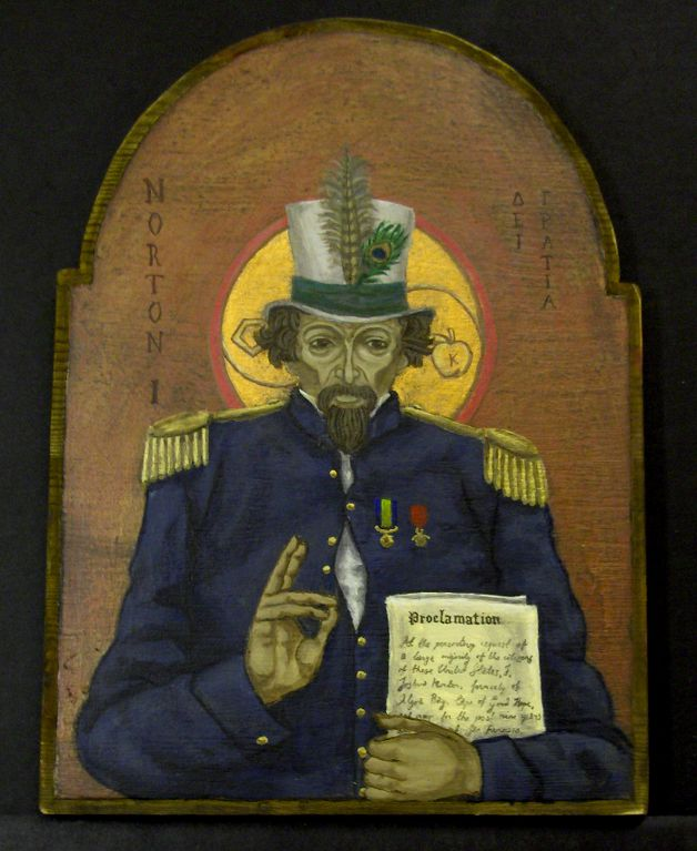 """The Emperor of America"" (2010), by Ylva Lundberg.  Acrylics and enamel on wood.  ©  2010 Ylva Lundberg. Source:  Armadillo Artifacts ."