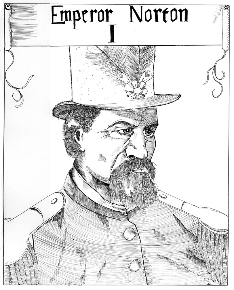 """Emperor Norton I"" (2009), by Ned Kane.    ©  2009 Ned Kane. Source:  Deviant Art ."