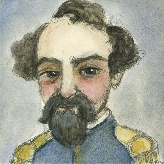"""Emperor Norton"" (2014), watercolor, by Debra Styer (b. 1971).   ©  2014 Debra Styer. Source:  Blue Hour Studio ."