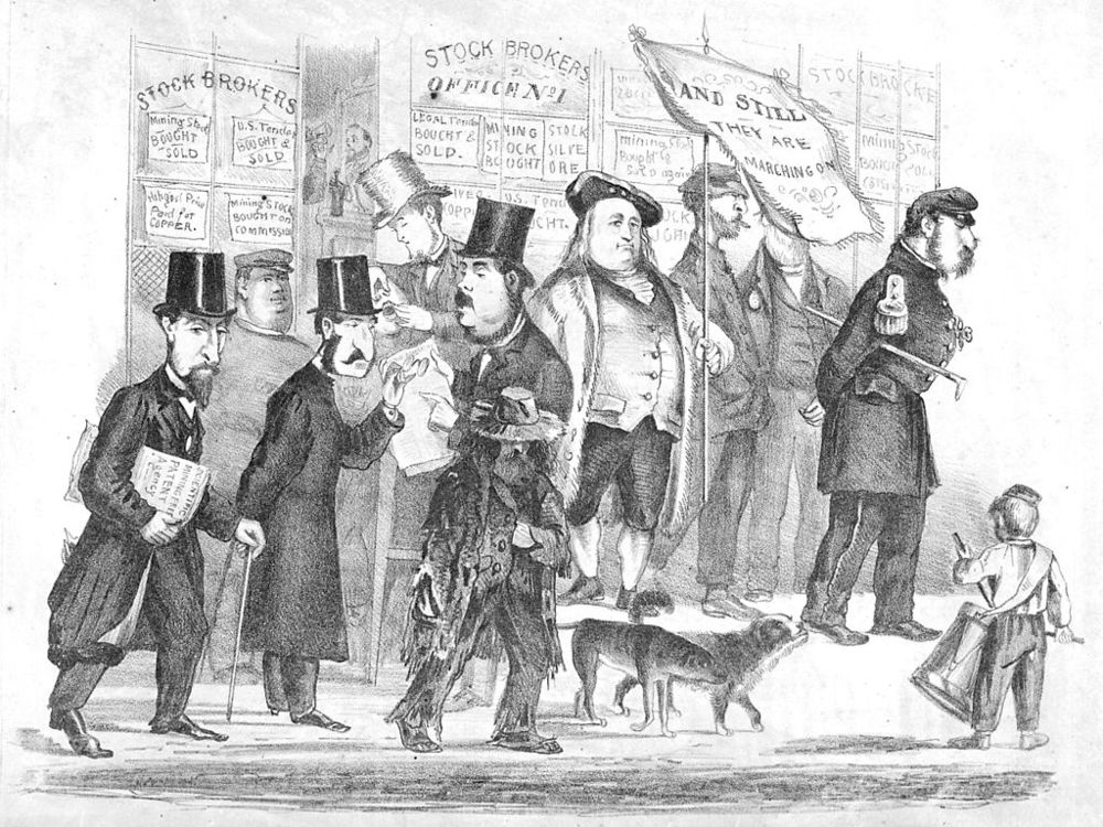 """Stock Brokers: And Still They Are Marching On"" (c. 1861-63), by Edward Jump (1832-1883).  Collection of the Bancroft Library at UC Bekeley. Source:  Calisphere ."