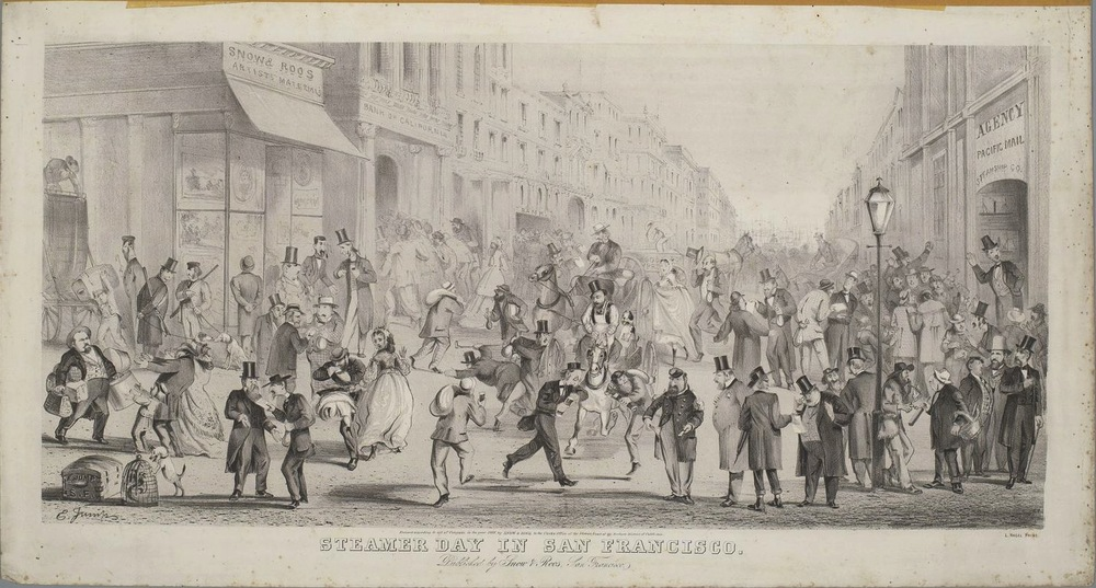 """Steamer Day in San Francisco"" (c. 1866), by Edward Jump (1832-1883).  Steamer Day  —  which occurred twice a month, once toward the middle of the month and once toward the end  —  was the day when bills were to be paid. Hence, the humor that Jump found in depicting Emperor Norton showing empty pockets to an onlooking official. Source:  Calisphere ."