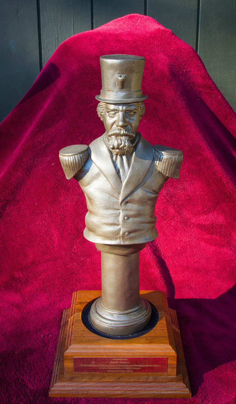 """The  Emperor Norton Award , known as """"the Joshua,""""originally designed and sculpted in 2003 by Paul Groendes.  The award is given annually by Tachyon Publications and Borderland Books for """"extraordinary invention and creativity unhampered by the constraints of paltry reason.Source:  Jack Vance ."""