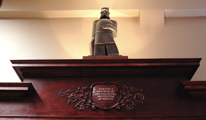 """4-foot casting, 2010,of 21""""  maquette  of Emperor Norton sculpted in 1936 by Peter Macchiarini (1909-2001).  This casting, by Piero Mussi at Artworks Foundry in Berkeley, Calif.,presides over the main bar at Comstock Saloon, San Francisco. Source:  Gianni's North Beach ."""