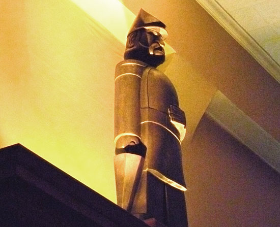 """4-foot casting, 2010,of 21"""" maquette of Emperor Norton sculpted in 1936 by Peter Macchiarini (1909-2001). This casting, by Piero Mussi at Artworks Foundry in Berkeley,Calif.,presides over the main bar at Comstock Saloon, San Francisco. Source:  Macchiarini Creative Design ."""