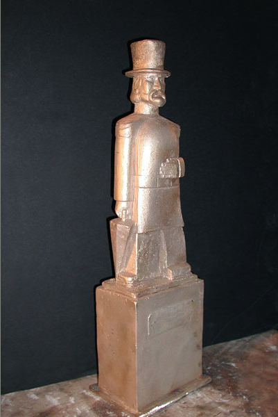 Maquette  of Emperor Norton in tophat (1936), by Peter Macchiarini (1909-2001).  Source:  Macchiarini Creative Design .