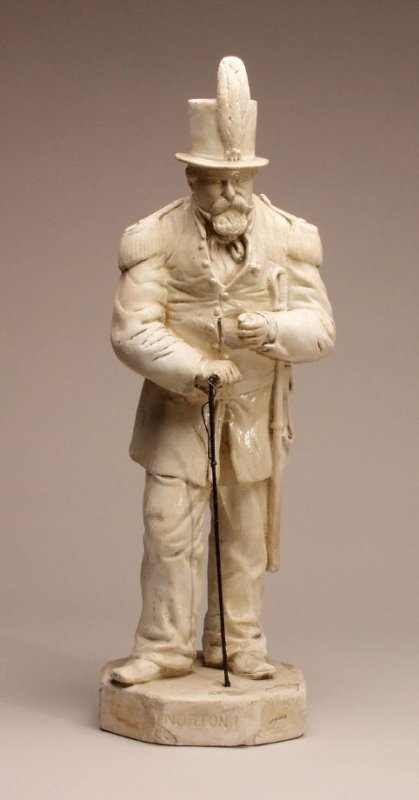 Emperor Norton figurine, plaster, c. 1875.  Collection of the de Young Museum. Photograph:  de Young Museum .